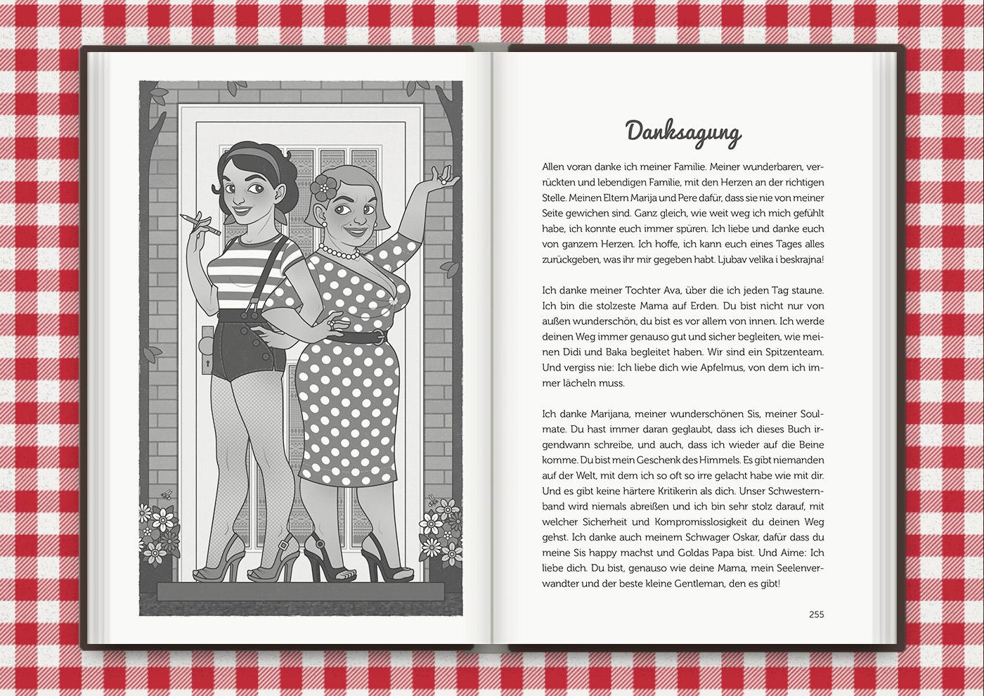 Illustration von Mimi Fiedler und ihre Mutter Marija einladend vor ihrer Haustür, für das Buch Brauchsu keine Doktor, brauchsu nur diese Buch – Die Balkantherapie für Liebe, Leib und Leben von Mimi Fiedler im MVG Verlag