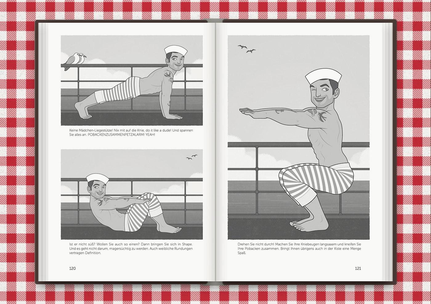 Sportübungen wie Liegestütze, Situps und Kniebeugen mit dem männlichen Pinup, Sportlehrer und Matrosen Guy im Buch Die Balkantherapie für Liebe, Leib und Leben von Mimi Fiedler
