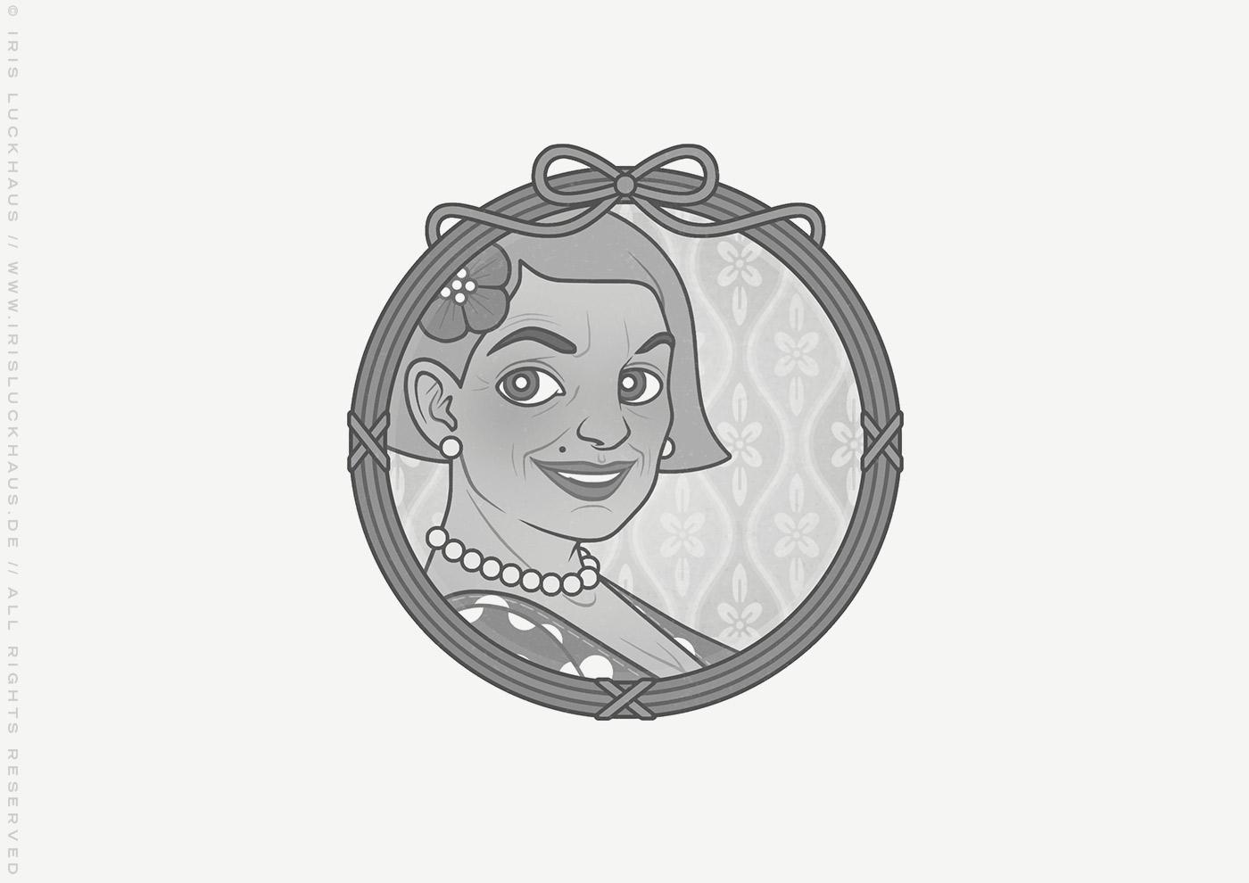 Vignette von Mimi Fiedlers selbstbewusster Mutter Marija für das Buch Brauchsu keine Doktor, brauchsu nur diese Buch – Die Balkantherapie für Liebe, Leib und Leben von Mimi Fiedler im MVG Verlag
