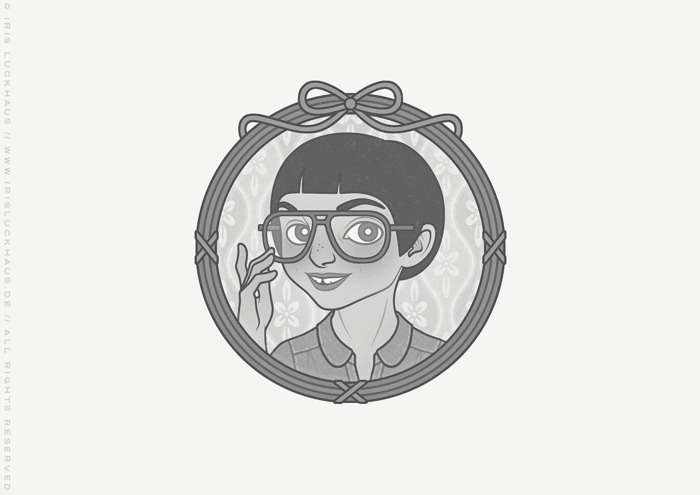 Vignette von Mimi Fiedler als irgendwie schräges Kind mit großer Brille und kleiner Zahnlücke für das Buch Brauchsu keine Doktor, brauchsu nur diese Buch – Die Balkantherapie für Liebe, Leib und Leben von Mimi Fiedler im MVG Verlag