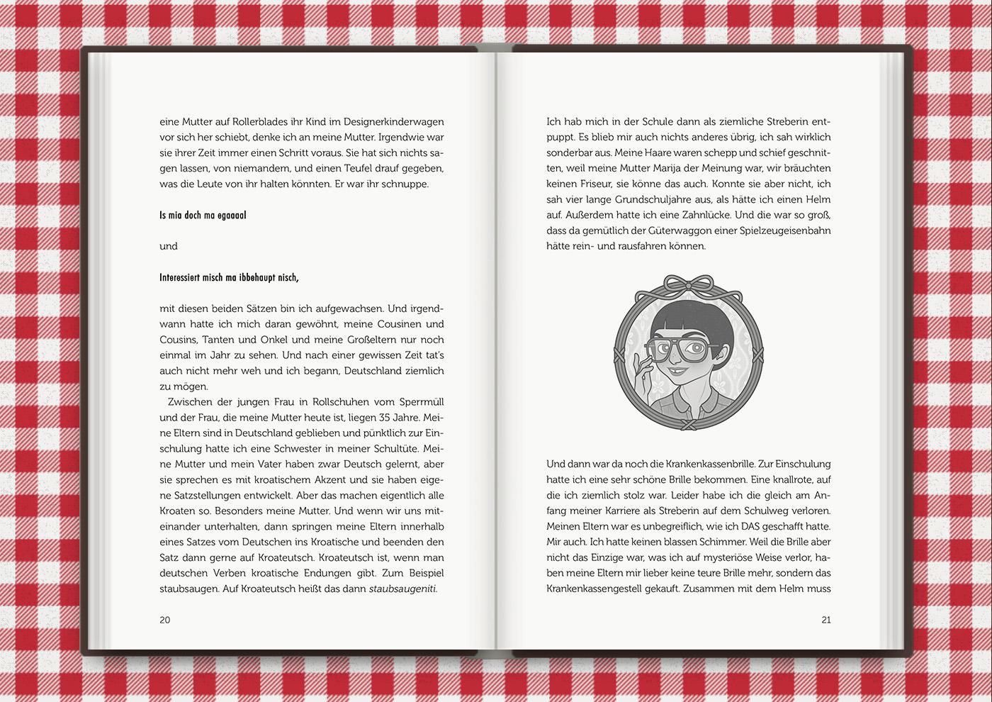 Vignette von Mimi Fiedler als irgendwie schräges Kind, für das Buch Brauchsu keine Doktor, brauchsu nur diese Buch – Die Balkantherapie für Liebe, Leib und Leben von Mimi Fiedler im MVG Verlag