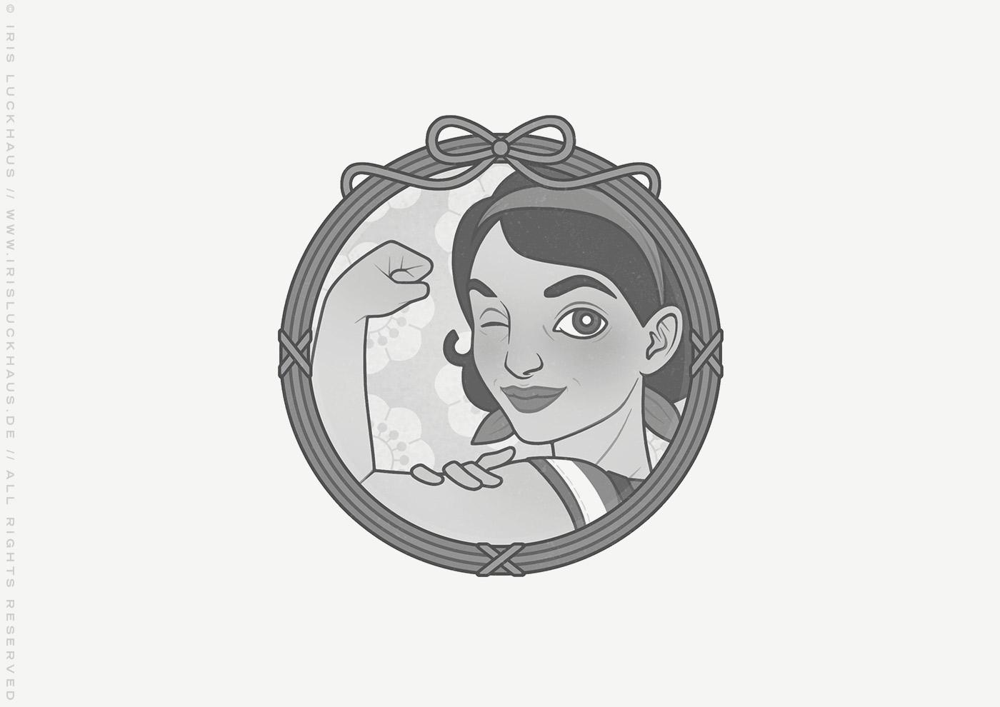 Vignette von Mimi Fiedler in Rosie the Riveter We-Can-Do-It-Pose für das Buch Brauchsu keine Doktor, brauchsu nur diese Buch – Die Balkantherapie für Liebe, Leib und Leben von Mimi Fiedler im MVG Verlag