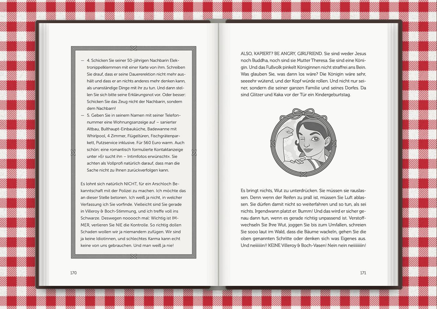 Vignette von Mimi Fiedler in We-Can-Do-It-Pose, für das Buch Brauchsu keine Doktor, brauchsu nur diese Buch – Die Balkantherapie für Liebe, Leib und Leben von Mimi Fiedler im MVG Verlag