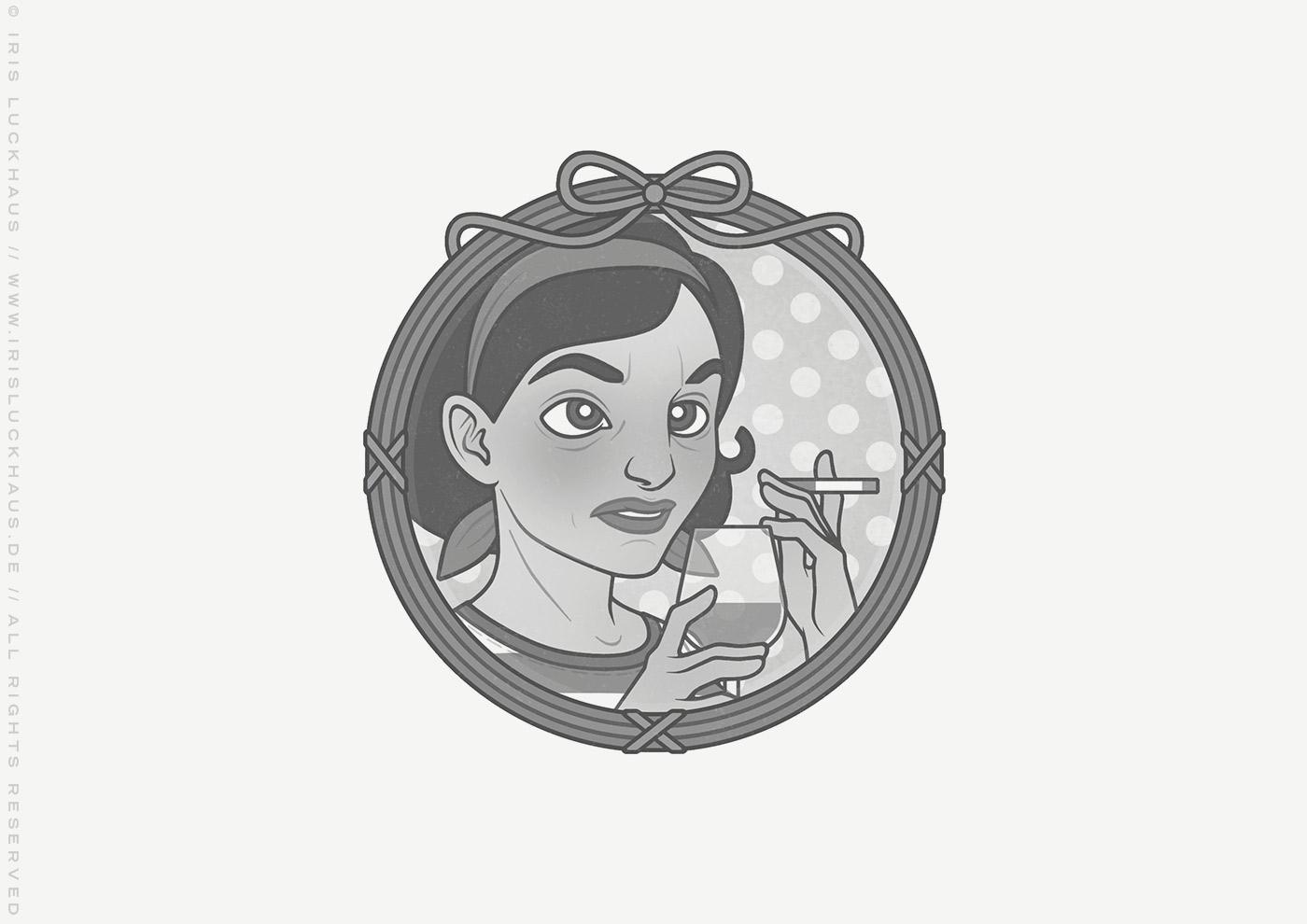 Vignette der vormals unglücklichen Mimi Fiedler mit Rotwein und Zigarette rauchend für das Buch Brauchsu keine Doktor, brauchsu nur diese Buch – Die Balkantherapie für Liebe, Leib und Leben von Mimi Fiedler im MVG Verlag