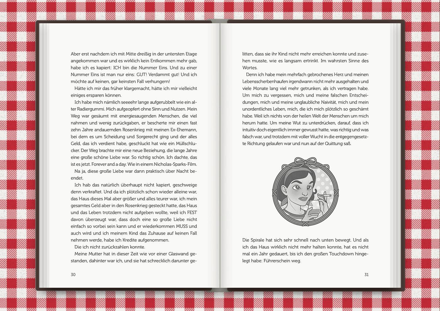 Vignette der vormals unglücklichen Mimi Fiedler, für das Buch Brauchsu keine Doktor, brauchsu nur diese Buch – Die Balkantherapie für Liebe, Leib und Leben von Mimi Fiedler im MVG Verlag