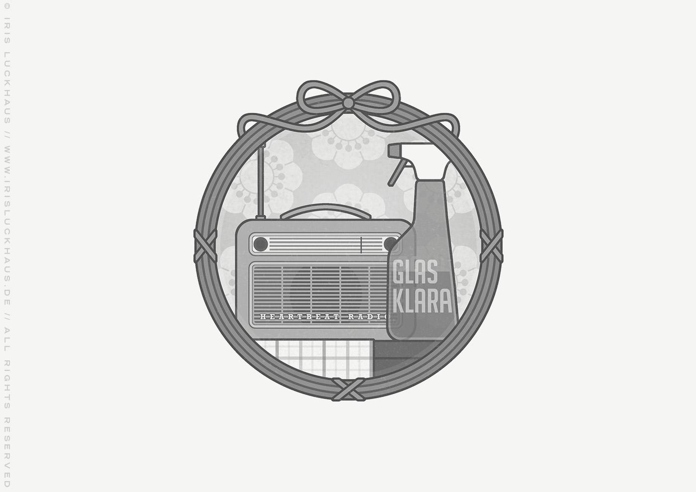 Vignette mit Mimi Fiedlers liebste Putzutensilien, Glasreiniger und Radio, die gegen jeden Weltschmerz helfen und gut für die Figur sind, für das Buch Brauchsu keine Doktor, brauchsu nur diese Buch – Die Balkantherapie für Liebe, Leib und Leben von Mimi Fiedler im MVG Verlag