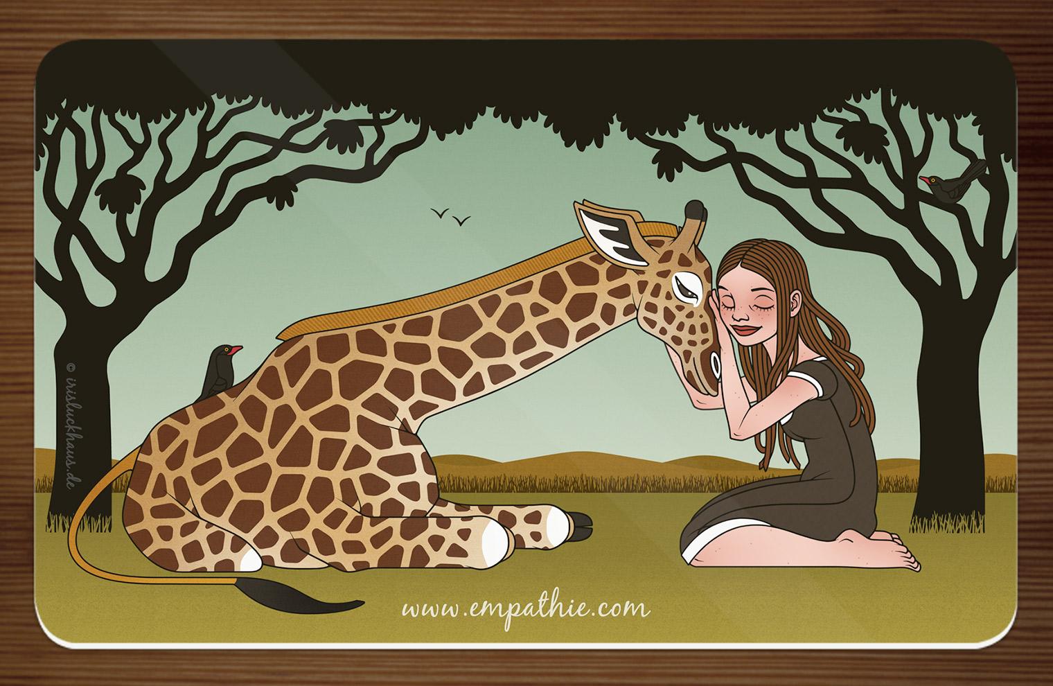 Frühstücksbrettchen mit einer Zeichnung von Mädchen und Giraffe als Freundinnen in der Savanne für den Empathie-Trainer EmpaTrain