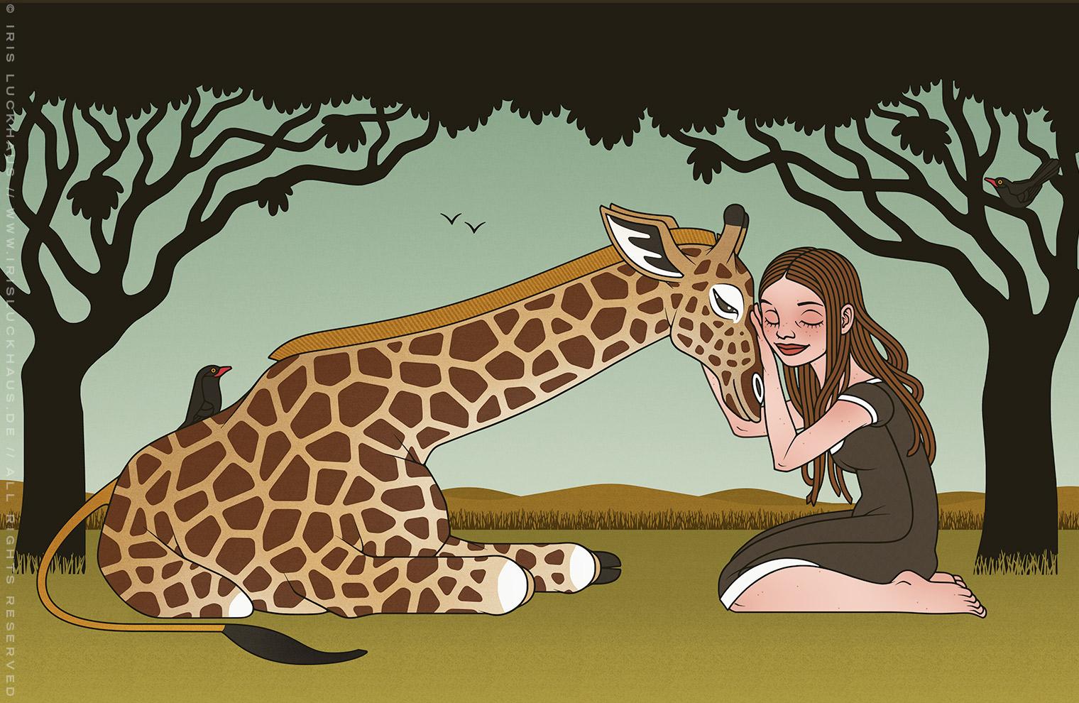 Zeichnung von Iris Luckhaus mit Mädchen und einer Giraffe als Freundinnen in der afrikanischen Savanne, für den Empathie-Trainer EmpaTrain
