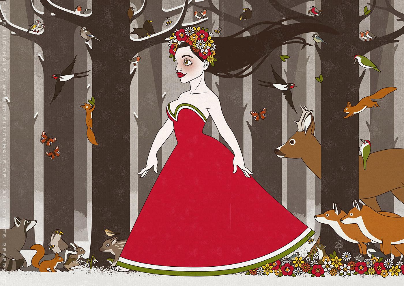 Flora, Persephone, Proserpina oder Sylvana, Zeichnung einer Frühlingsgöttin oder Nymphe im Abendkleid mit Blumenkranz, die von Tieren wie Eichhörnchen, Rehen und Singvögeln begleitet durch den Wald im Frühling spaziert, von Iris Luckhaus