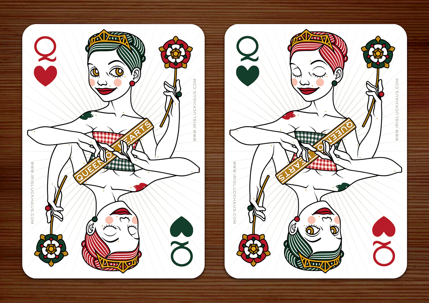 Zeichnung der Herzdame (Queen of Hearts) Spielkarte für das 52 Aces Reloaded Pokerdeck für Zeixs von Iris Luckhaus