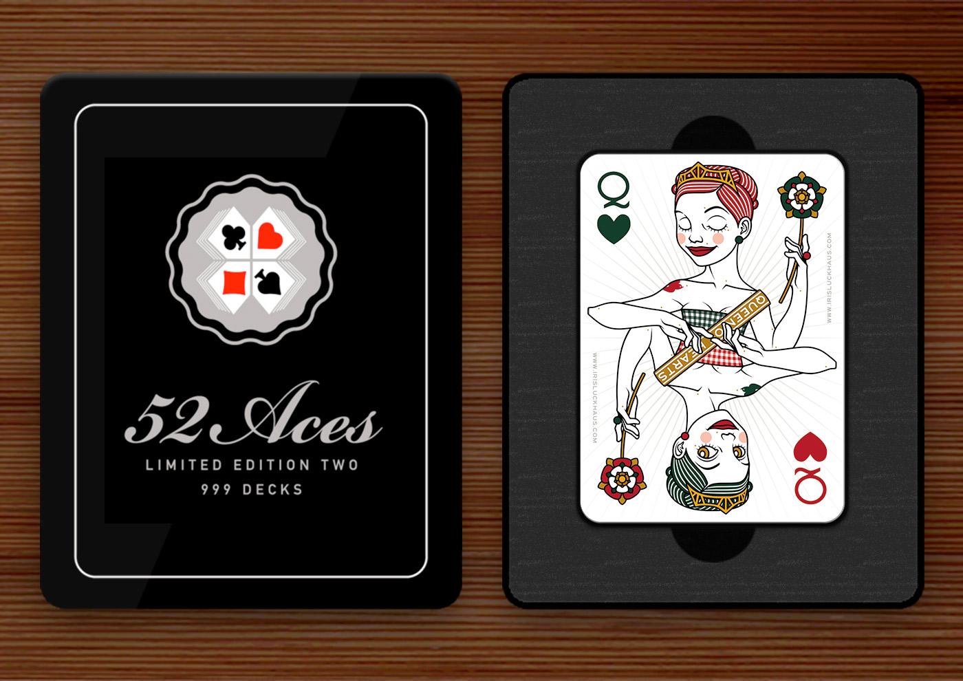 Herzdame (Queen of Hearts) Spielkarte für das 52 Aces Reloaded Pokerdeck für Zeixs im Set mit Box