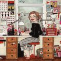 Handgezeichnetes Selbstportrait Heimat von Iris Luckhaus bei der Arbeit im Büro in Wuppertal im IO-Skizzenbuch Meine Welt