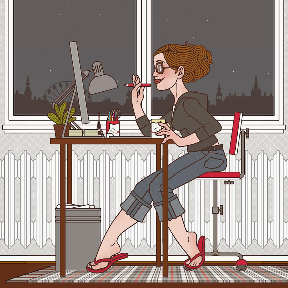 Selbstbildnis der Illustratorin, Grafikerin und Designerin Iris Luckhaus am Abend bei der Arbeit in ihrem Büro in Wuppertal