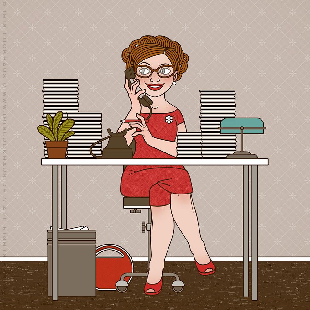 Imaginäre Retro-Sekreträrin von Iris Luckhaus, die ebenso freundlich wie begeistert telefoniert