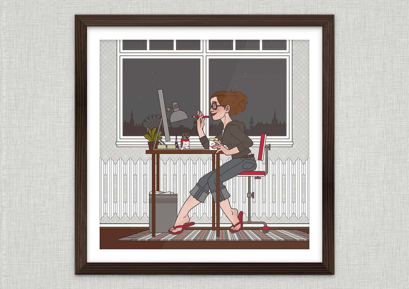 Poster zu Arbeitszeiten bei Tag und Nacht, die eine Frau fröhlich und traurig bei der Arbeit im Büro am Mac zeigen