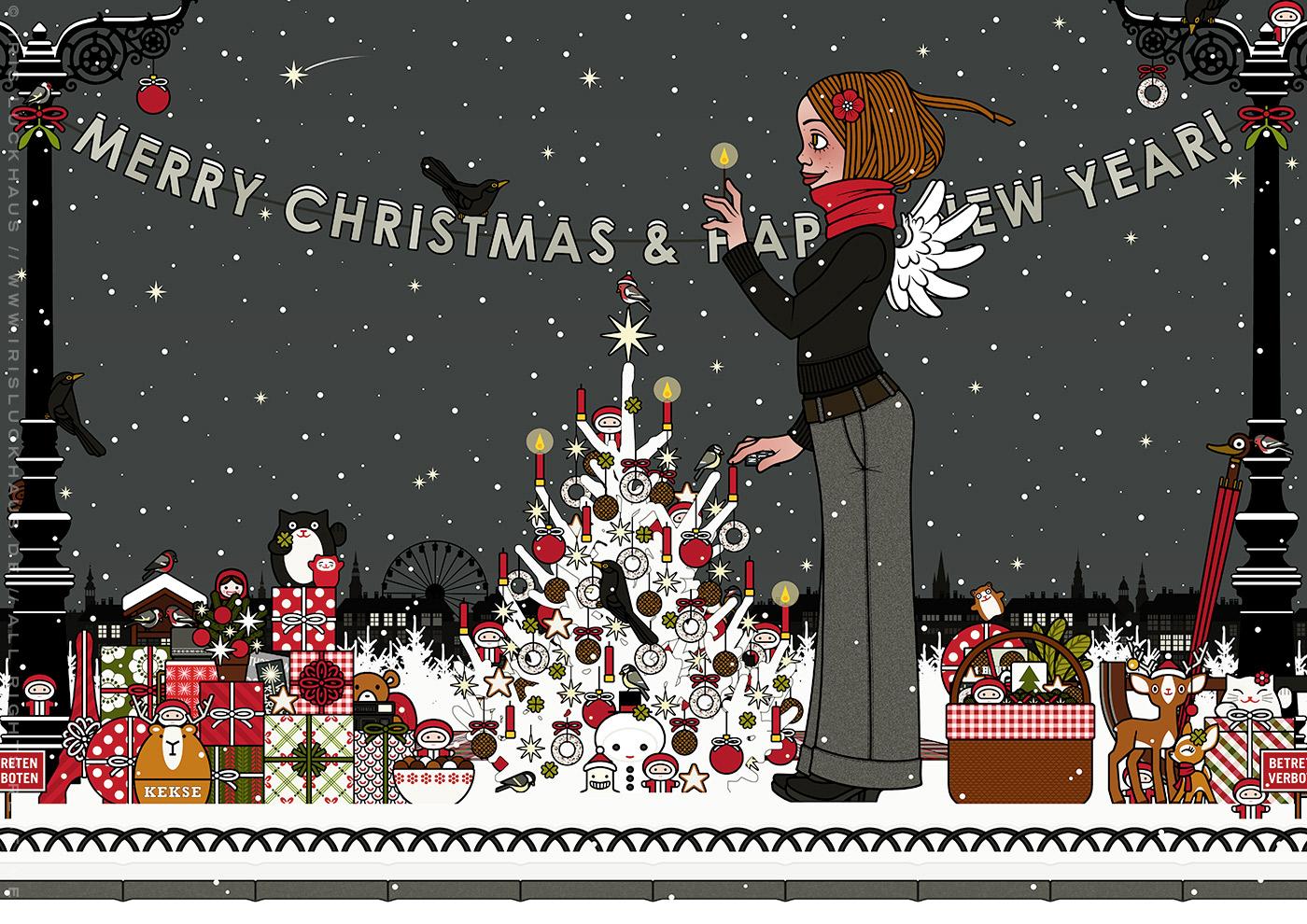 Zeichnung von einem Mädchen mit Engelsflügeln, das im Schnee im winterlichen Park Geschenke verteilt und einen Weihnachtsbaum mit Meisenknödeln geschmückt hat und nun die Kerzen mit einem Streichholz anzündet, für Lily Lux von Iris Luckhaus