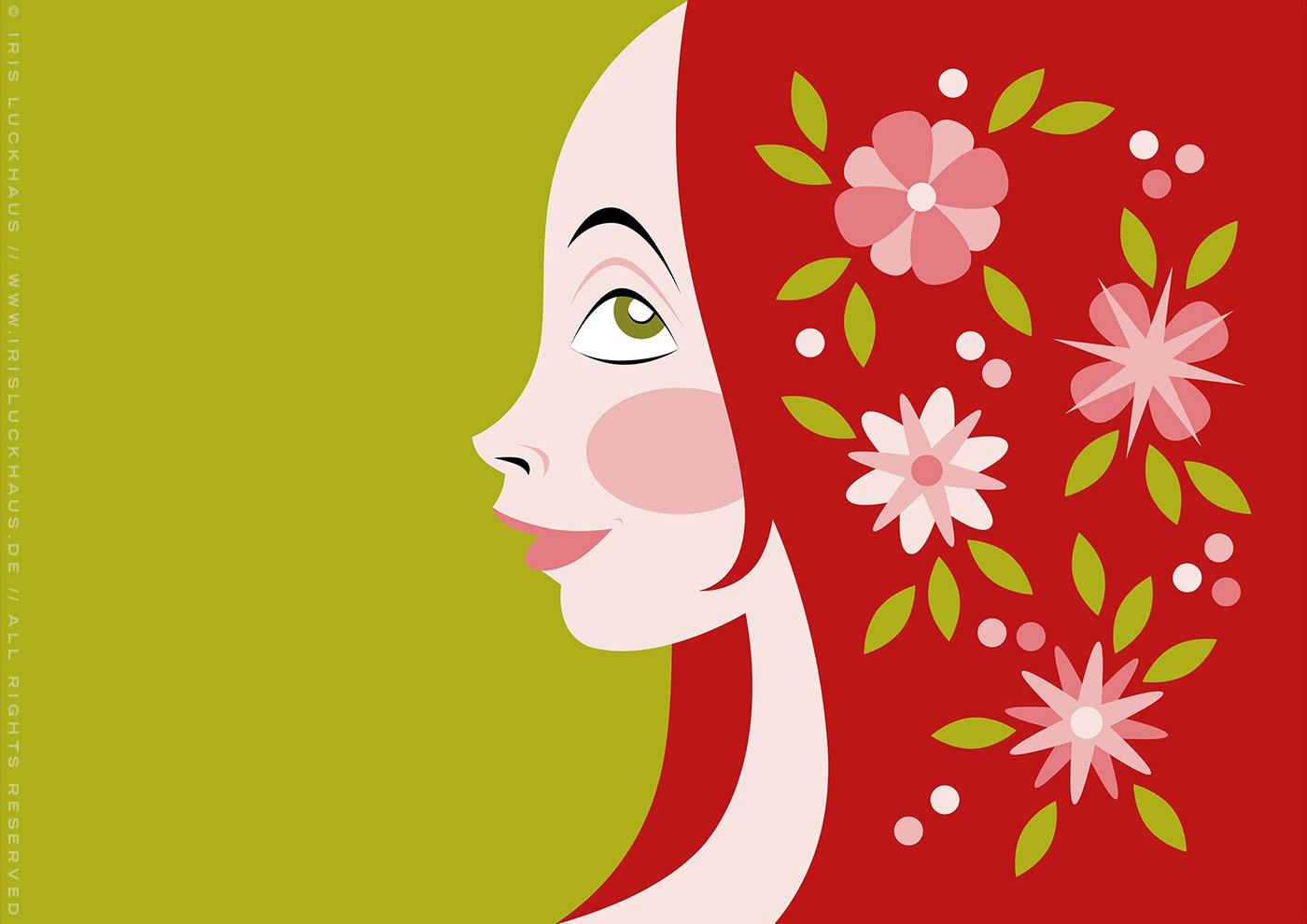 Farbenfrohe Vektorillustration mit dem Portrait eines Mädchen Profil im Mai mit Blumen im roten Haar von Iris Luckhaus