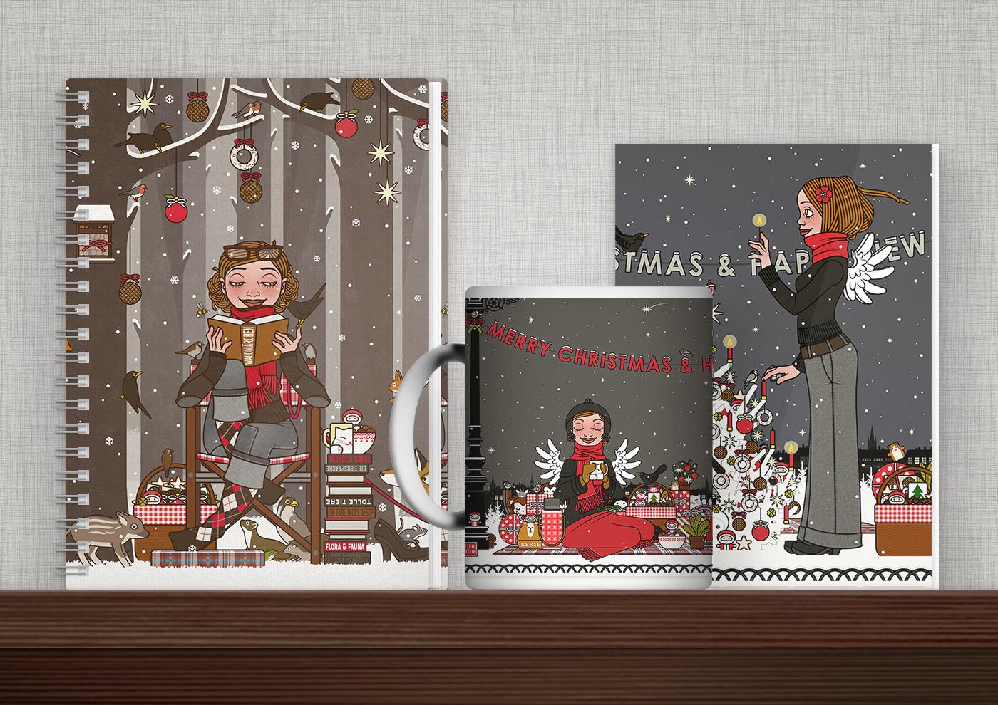 Bedruckte Produkte mit Illustrationen, Schautafeln, Weihnachten, Infografiken und Mustern von iris Luckhaus
