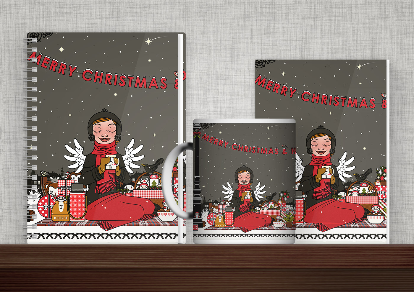 Bedruckte Produkte wie Tasse, Buch, Karte oder Tasche mit Illustrationen zu Weihnachten mit Lily Lux von Iris Luckhaus