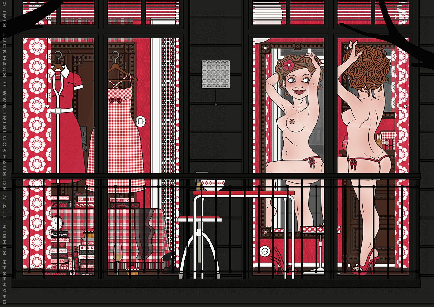 Teil der Zeichnung eines Pinups, das aufreizend am Fenster für den Nachbarn posiert, für die Comic Anthologie Bettgeschichten