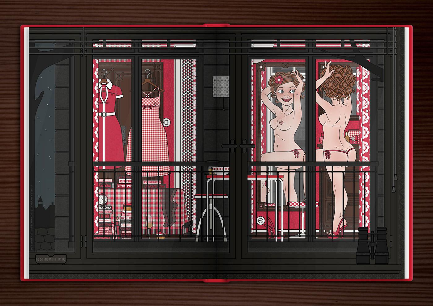 Zeichnung eines Pinups, das aufreizend am Fenster für den Nachbarn posiert, im Buch der Comic Anthologie Bettgeschichten