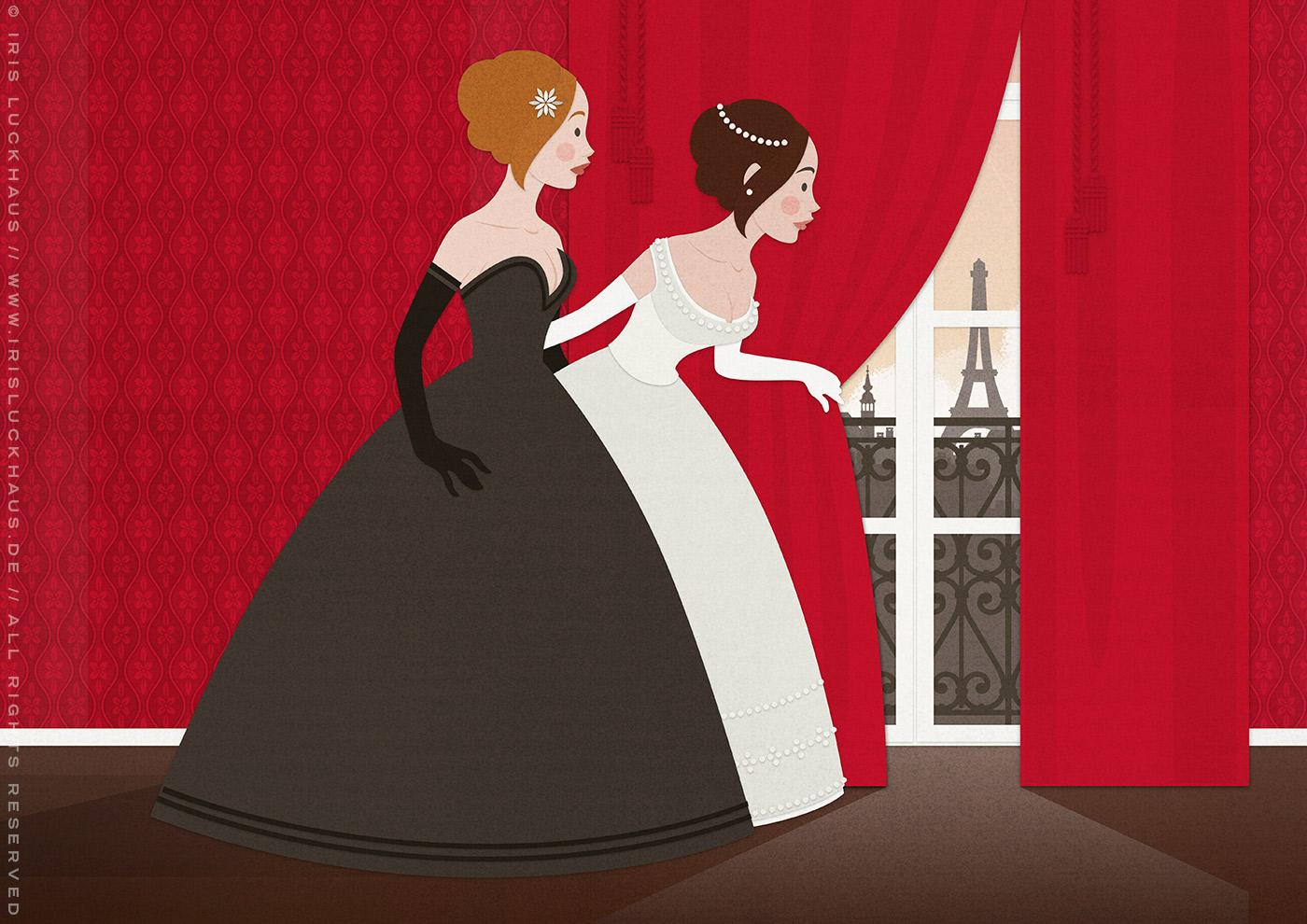 Vektorillustration für ein Märchen mit zwei Mädchen, Freundinnen wie Prinzessinnen, im Ballkleid, die voller Neugier hinter einen roten Vorhang spähen und Paris erblicken, von Iris Luckhaus
