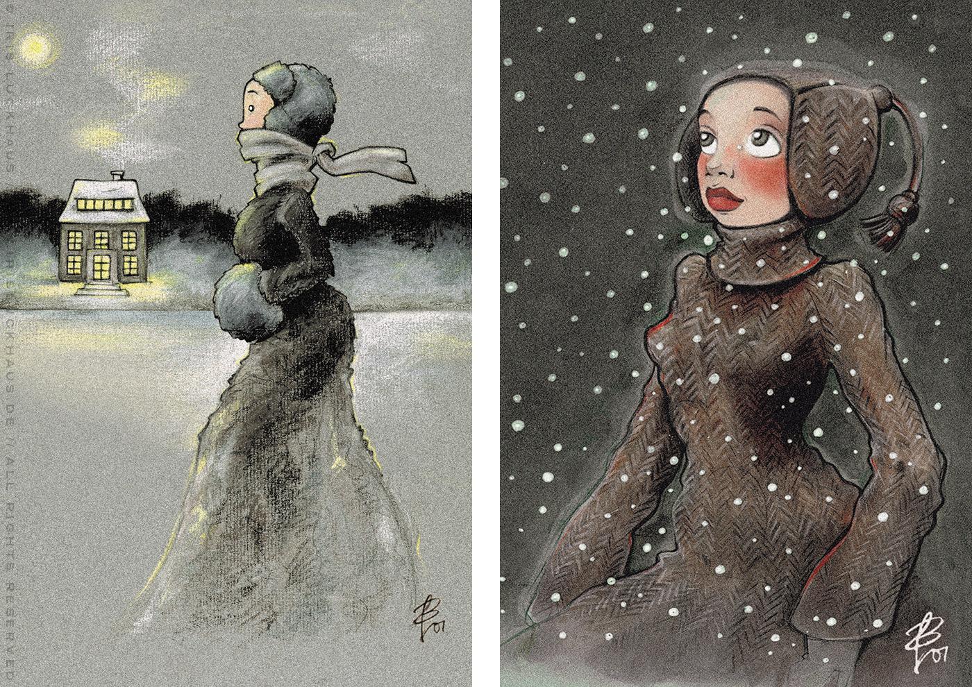 Serie Winterwunder mit Zeichnungen von einem Mädchen beim Eislaufen mit Schlittschuhen auf einem winterlichen See in Ölkreide (Eisläuferin) und von einem Mädchen, das voller Staunen das Wunder des ersten Schnees im Winter betrachtet (Neuschnee), in Markertechnik, von Iris Luckhaus