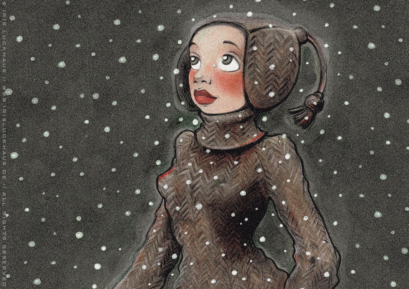 Zeichnungen von einem Mädchen im Portrait, das voller Staunen das Wunder des ersten Schnees im Winter betrachtet, in Markertechnik, von Iris Luckhaus