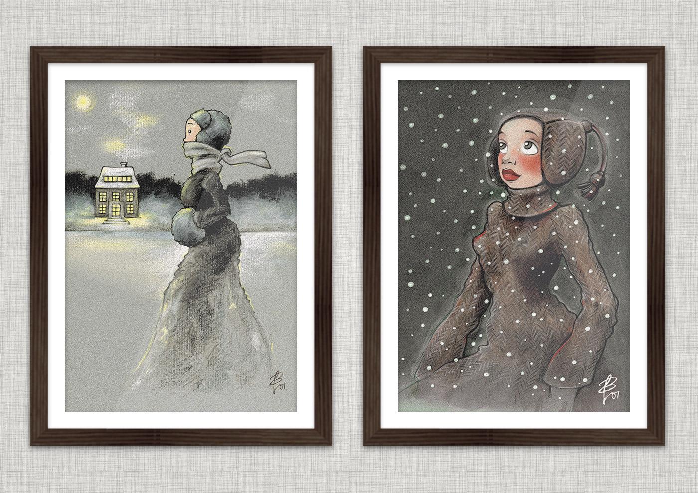 Poster mit der Serie Winterwunder mit Zeichnungen von einem Mädchen beim Eislaufen mit Schlittschuhen auf einem winterlichen See in Ölkreide (Eisläuferin) und von einem Mädchen, das voller Staunen das Wunder des ersten Schnees im Winter betrachtet (Neuschnee), in Markertechnik, von Iris Luckhaus