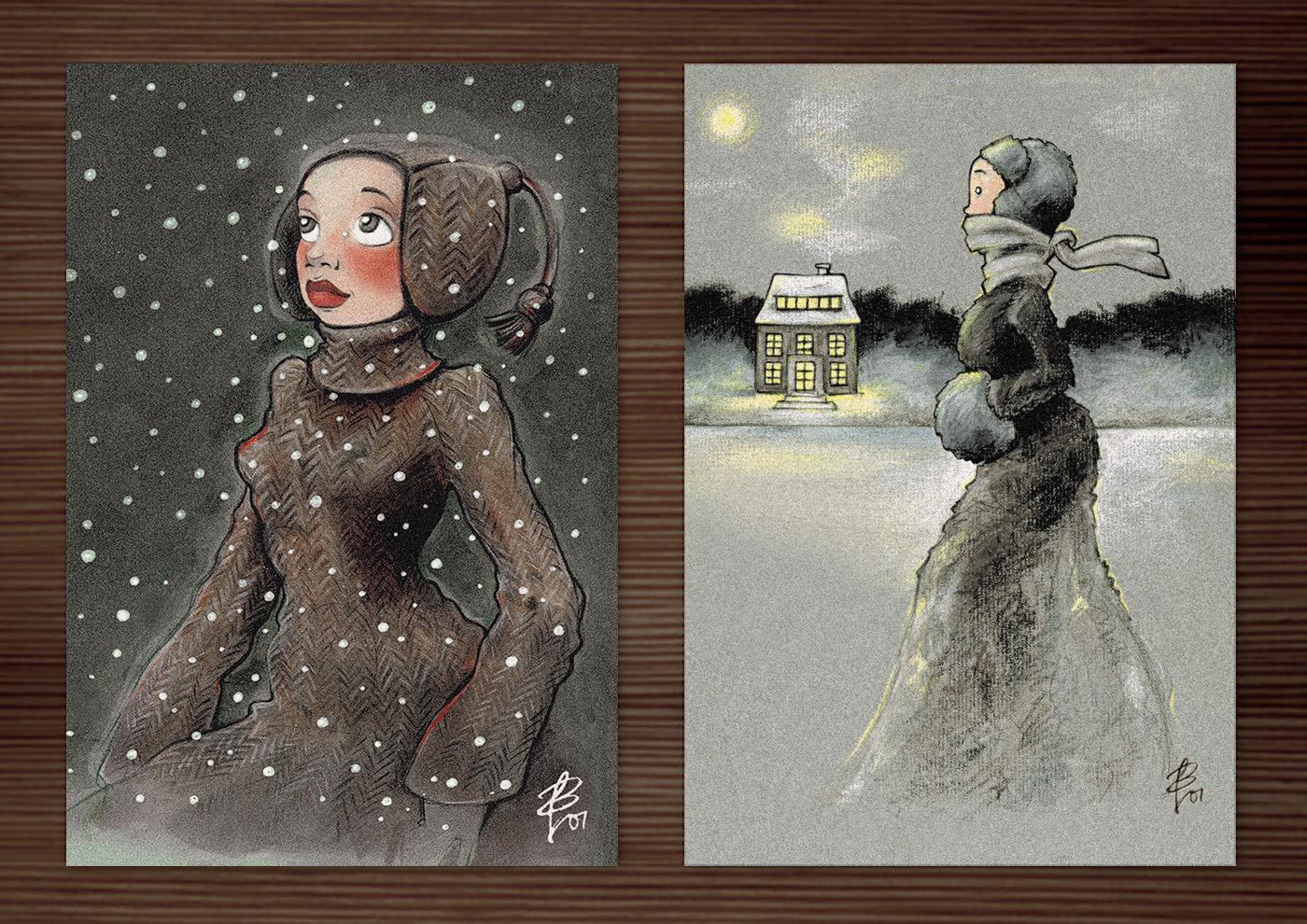 Postkarten mit Zeichnungen von einem Mädchen beim Eislaufen mit Schlittschuhen auf einem winterlichen See in Ölkreide und von einem Mädchen, das voller Staunen das Wunder des ersten Schnees im Winter betrachtet, in Markertechnik, von Iris Luckhaus