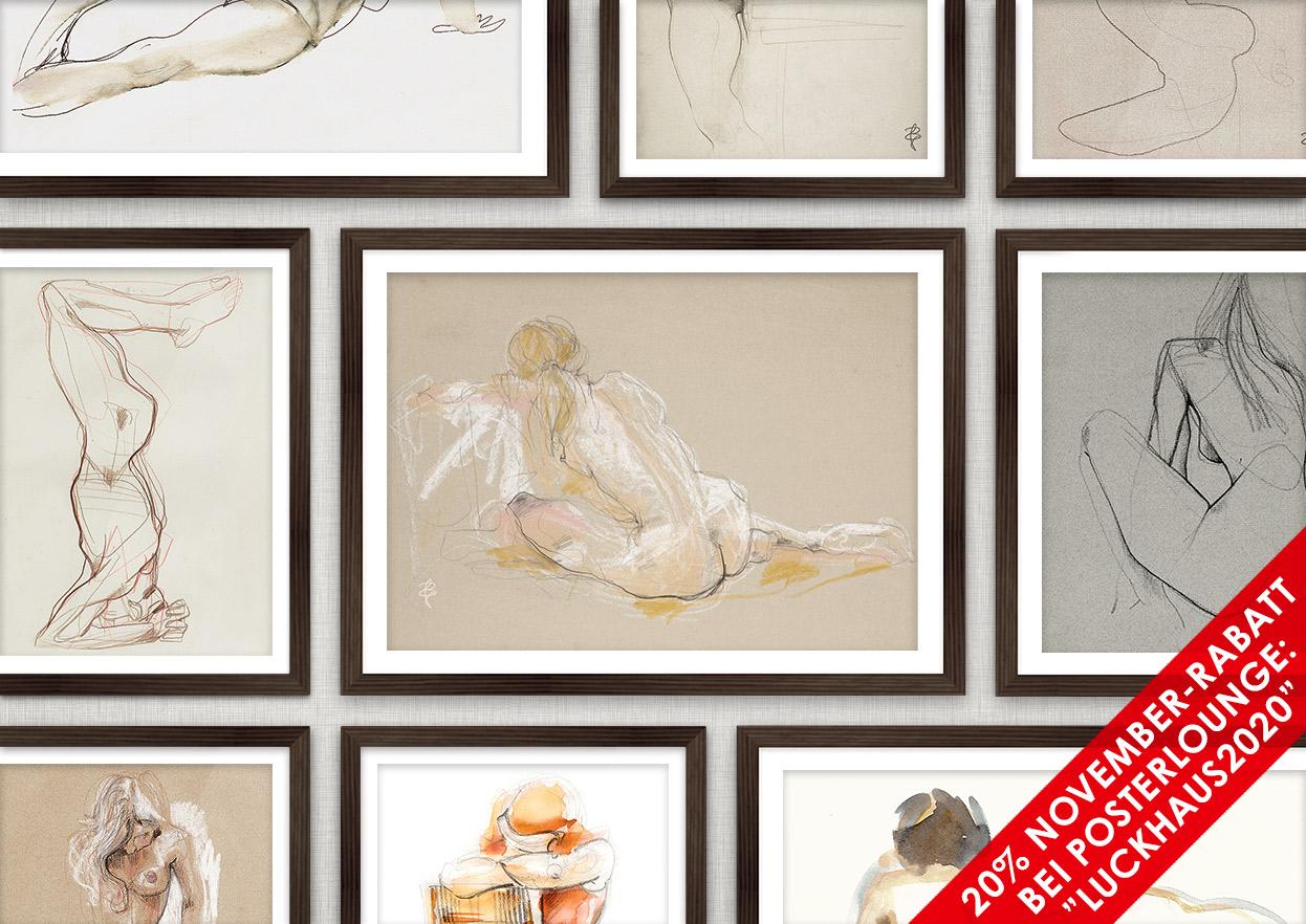 Poster mit Aktzeichnungen und Skizzen von Iris Luckhaus bei der Posterlounge mit 20% Rabatt im November
