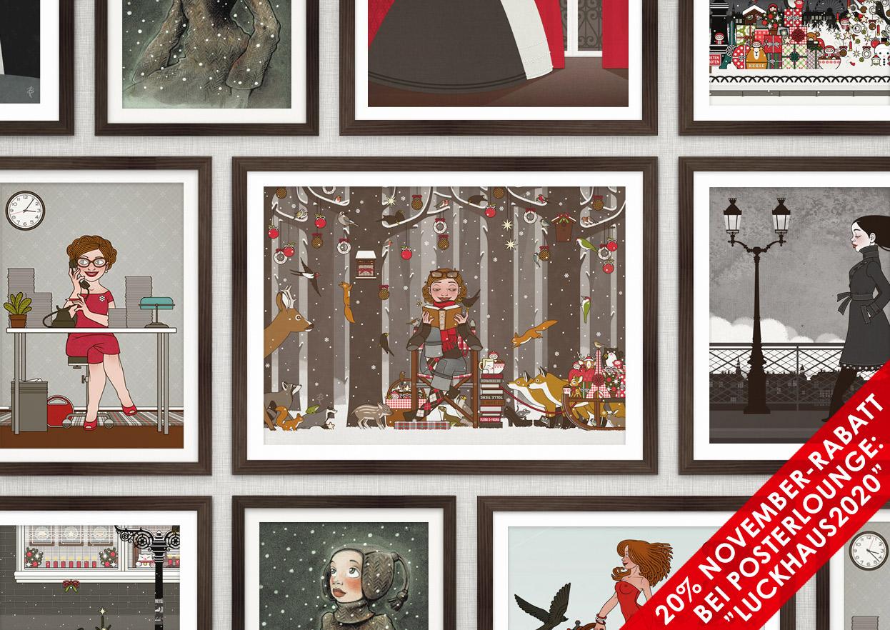 Poster mit Illustrationen von Iris Luckhaus und Lily Lux Weihnachten bei der Posterlounge mit 20% Rabatt im November