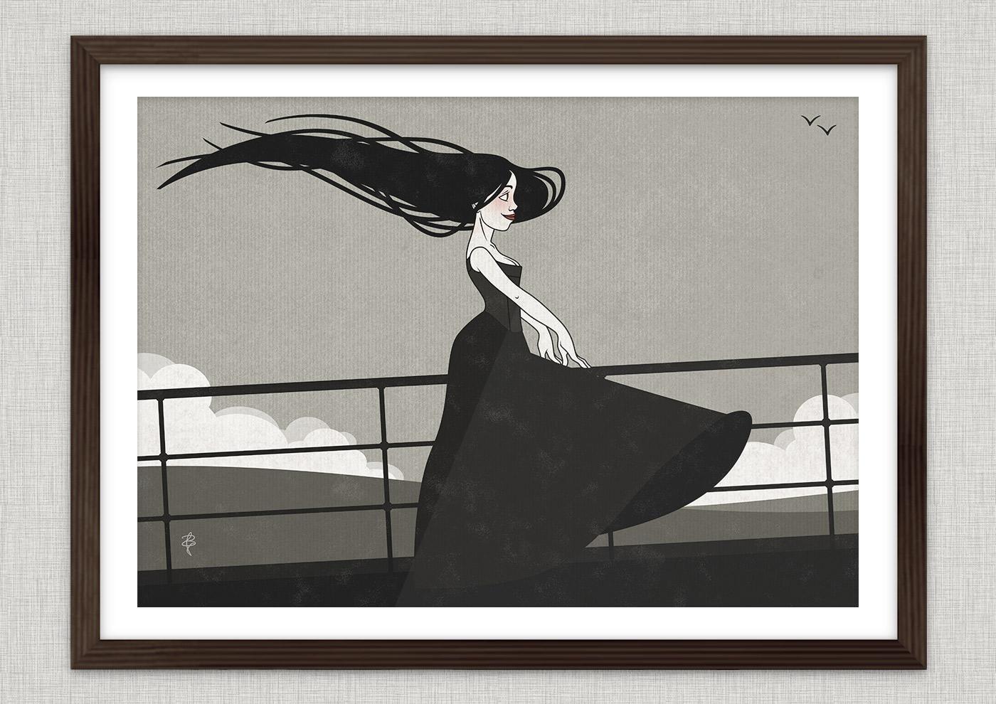 Poster von der Zeichnung mit Tusche und Collage von einem koketten Mädchen im Sturm an der Relings an Bord eines Ozeandampfers oder Schiffs auf See mit hohen Wellen als Seestück von Iris Luckhaus