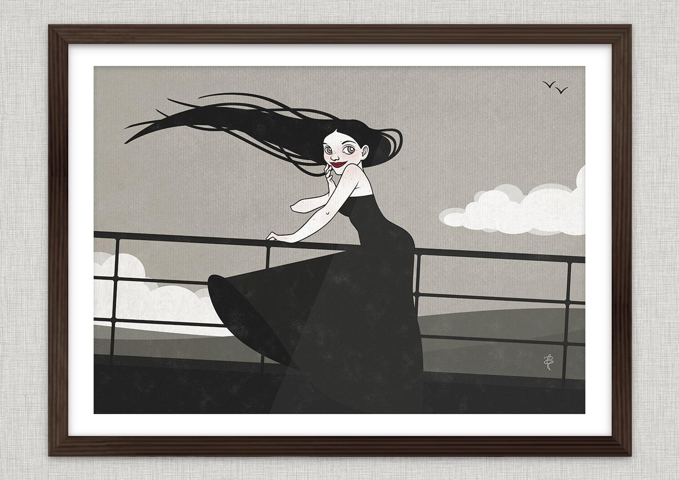 Poster von der Zeichnung mit Tusche und Collage von einem koketten Mädchen im Sturm an der Relings an Bord eines Ozeandampfers oder Schiffs auf See mit hohen Wellen als Seestück