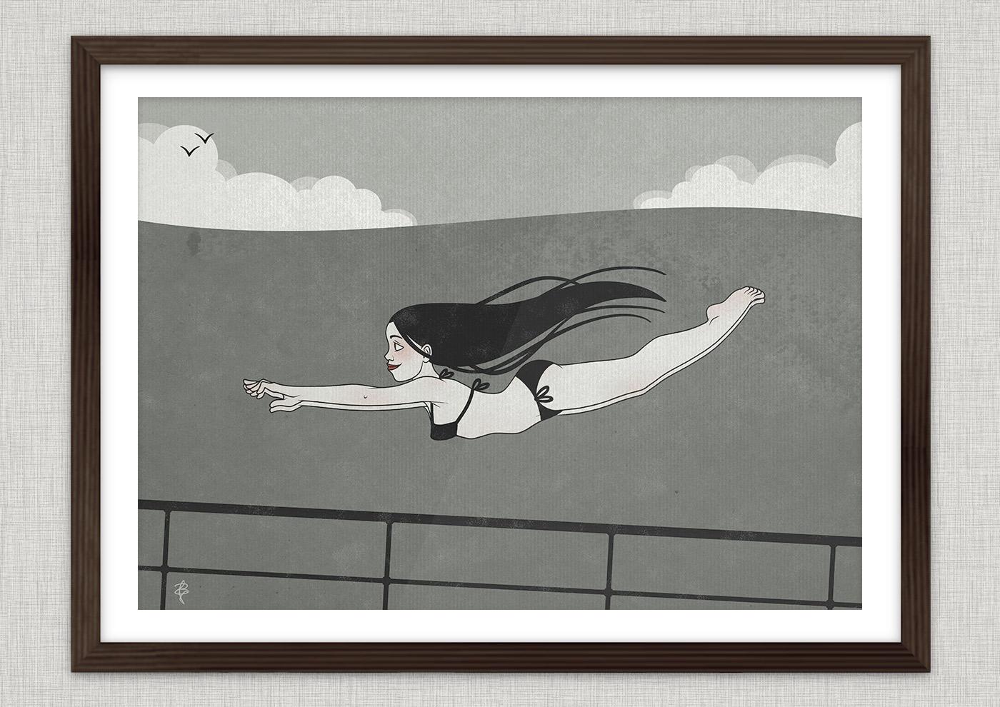 Poster von einer Zeichnung mit Tusche und Collage von einem Mädchen im Bikini beim Schwimmen und Tauchen im Meer als Seestück