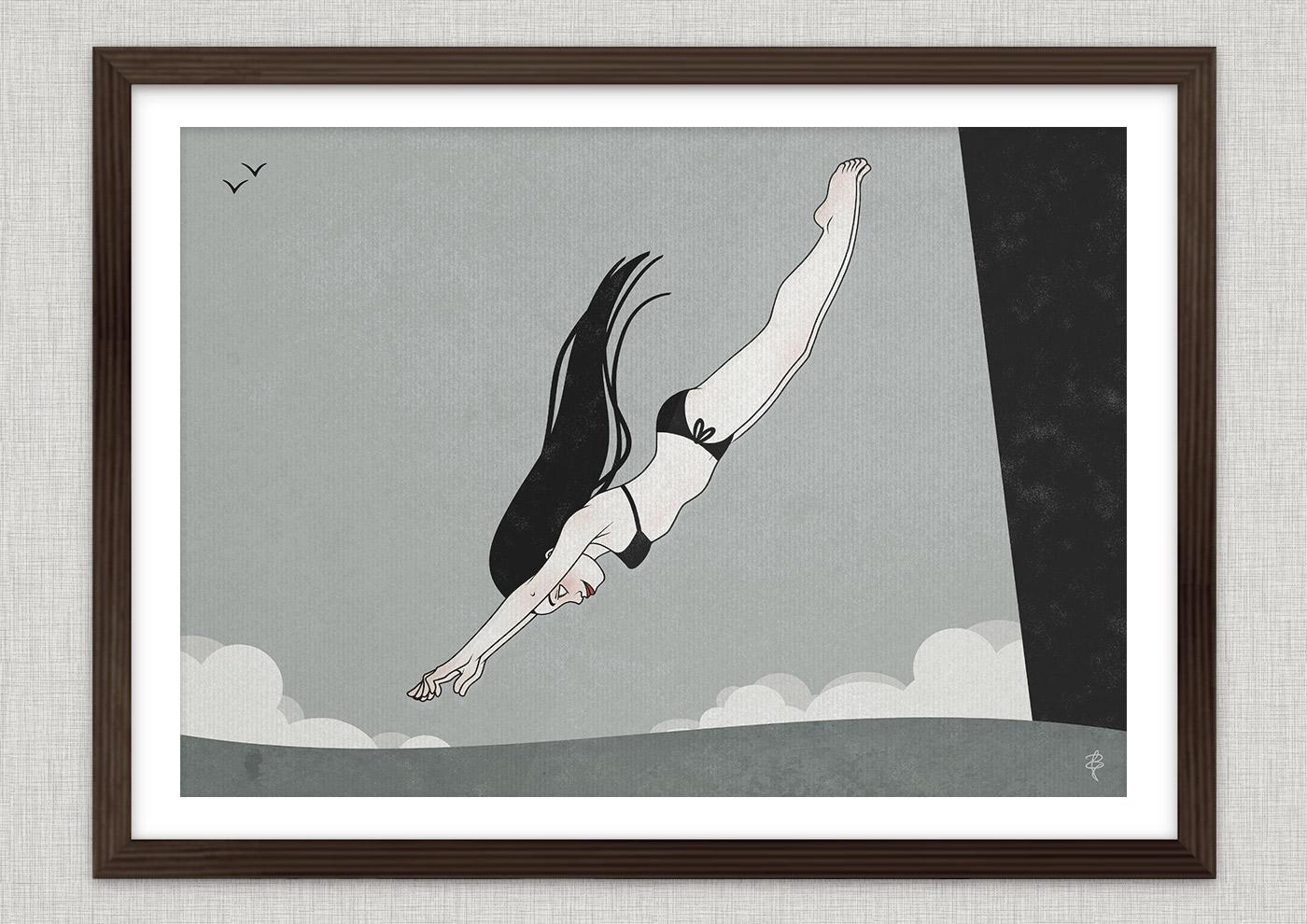 Zeichnung mit Tusche und Collage von einem Mädchen im Bikini beim Schwimmen und Tauchen im Meer als Seestück