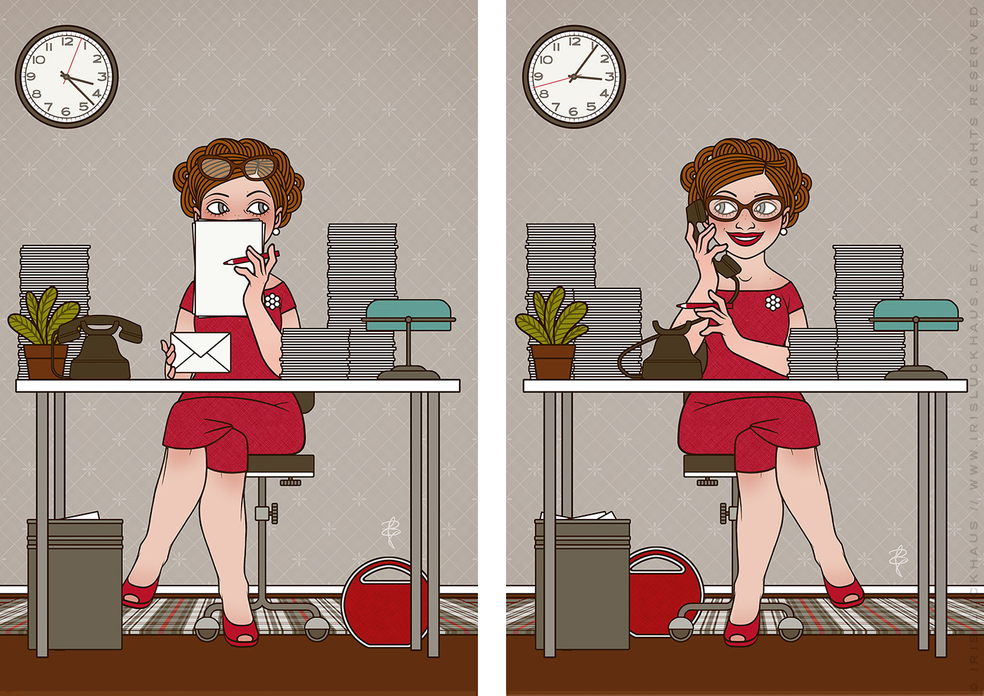 Retro-Illustrationen von Iris Luckhaus mit einer Sekretärin, die sich an ihrem Schreibtisch schüchtern hinter Papieren versteckt und fröhlich telefoniert