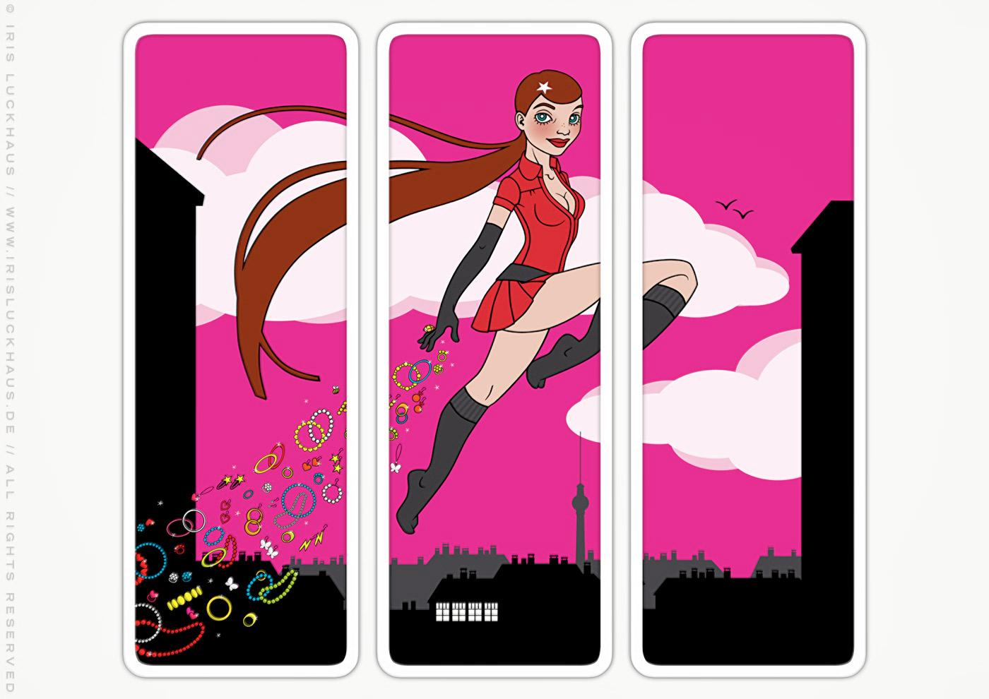 Tryptichon Vektorillustration eines Schmuck verteilenden Pinup Mädchens als Superheldin oder Supergirl Sixgirl für Werbung und Dekoration von SIX Accessories