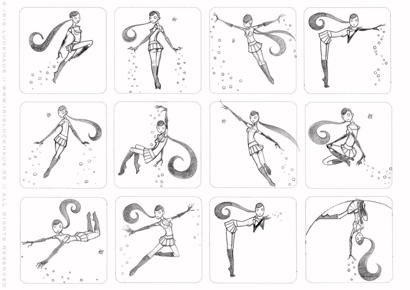 Character Design Scribbles mit Posen für ein fliegendes Pinup Mädchen als Superheldin oder Supergirl Sixgirl für SIX Accessories