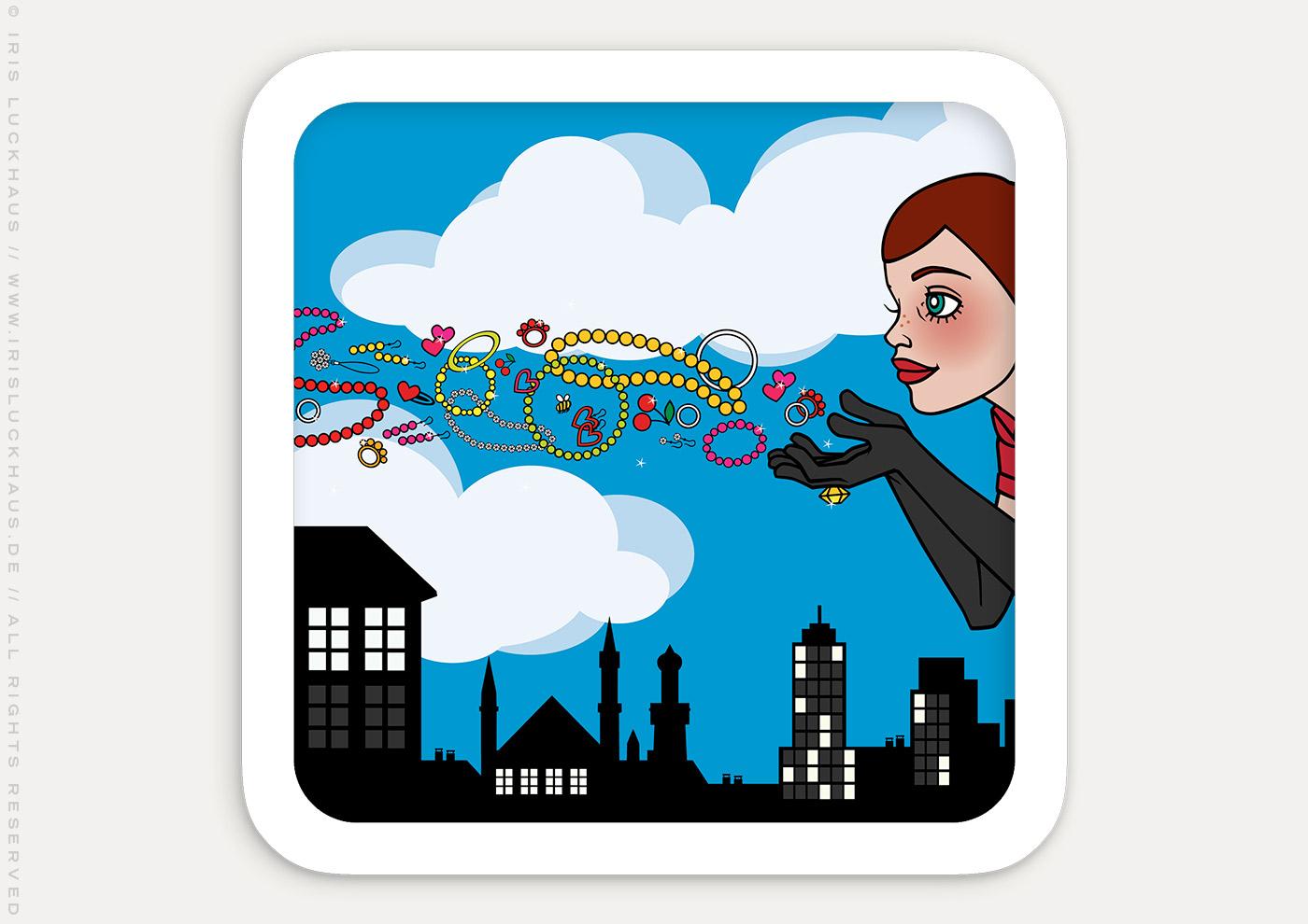 Vektorillustration eines Schmuck pustenden Pinup Mädchens als Superheldin oder Supergirl Sixgirl für Werbung und Dekoration von SIX Accessories