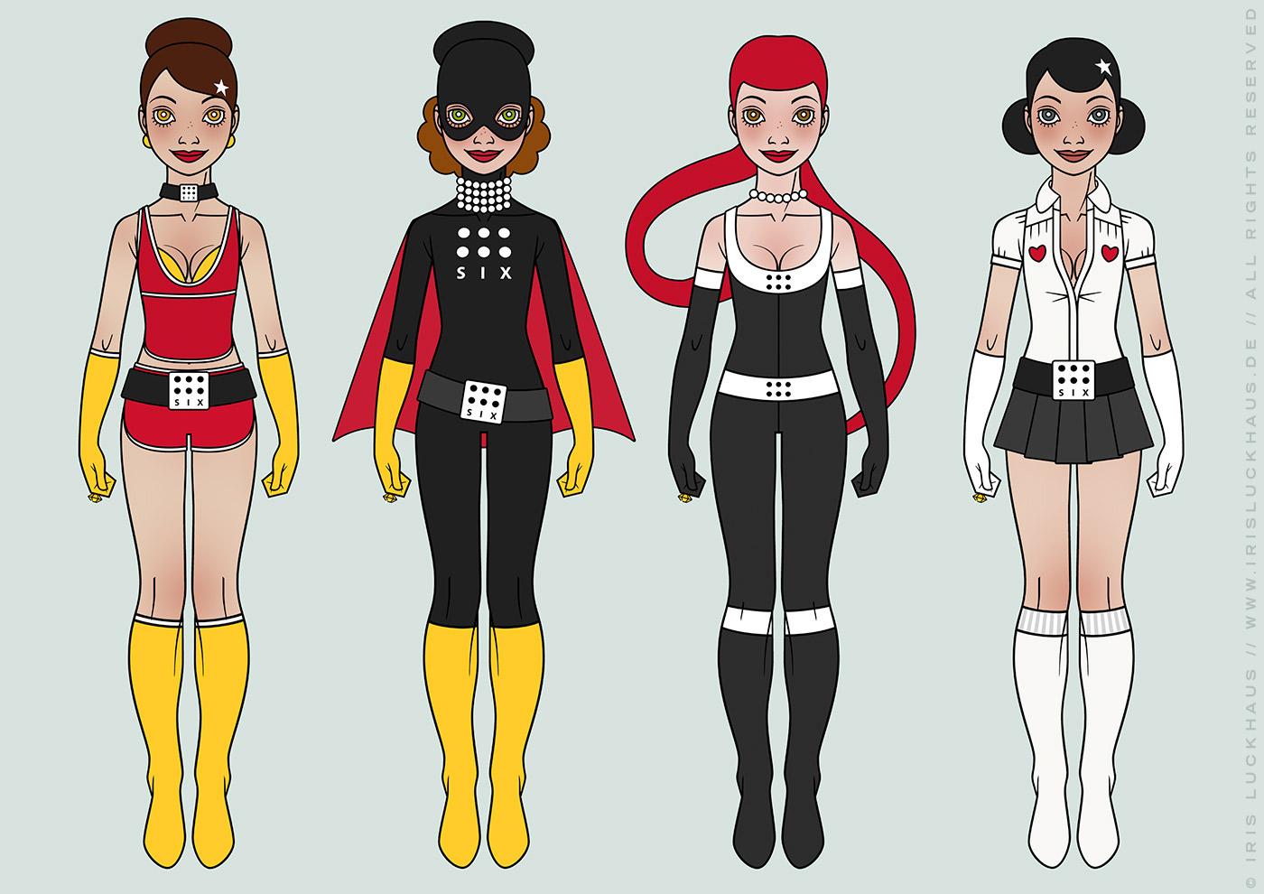 Character Design, Mode und Kostüme für ein Pinup Mädchen als Superheldin oder Supergirl Sixgirl für SIX Accessories von Iris Luckhaus