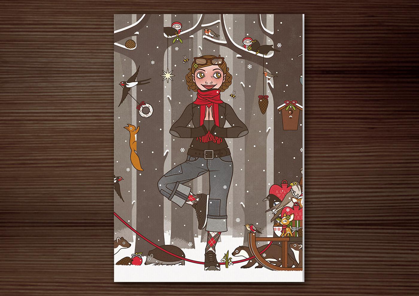 Zeichnung von einem Mädchen, das zur Feier von Winter, Weihnacht, Advent, Silvester und Neujahr im winterlich verschneiten Wald Yoga in Baumpose turnt und Geschenke wie Meisenringe, Äpfeln und Vogelfutter und Glücksklee für die Tiere des Waldes wie Eichhörnchen, Füchse, Rehe, Rotkehlchen, Kohlmeise, Stieglitz, Gimpel und Amsel mitgebracht hat, während Waschbär, Dachs und Marder einen Meisenknödel vom Schlitten stehlen, für Lily Lux von Iris Luckhaus