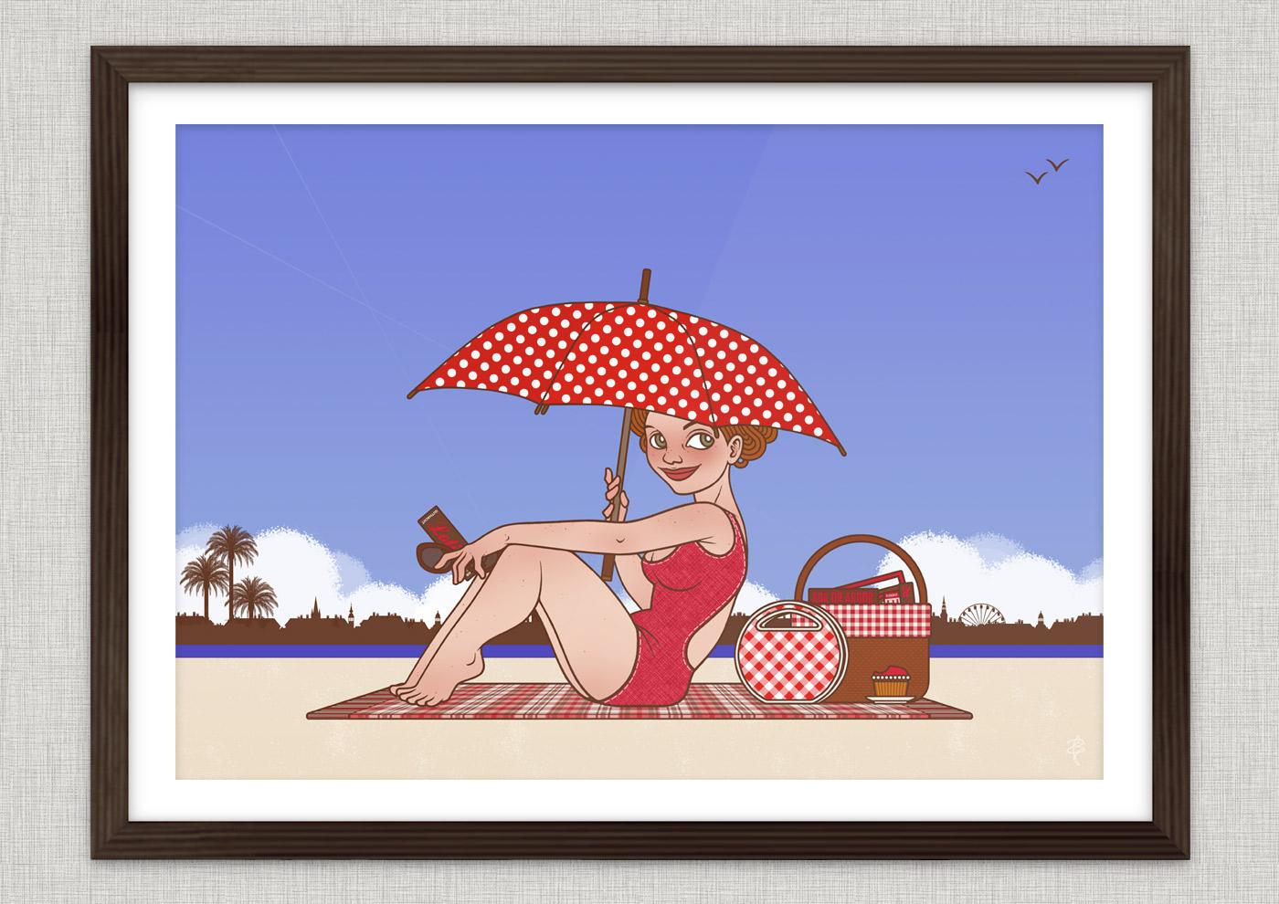 Poster Lola am Strand