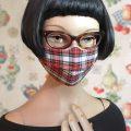 Optimierte Hybrid-Maske, Behelfsmaske, Alltagsmaske, Stoffmaske, Mund-Nase-Maske oder Mund-Nase-Bedeckung zum selber Nähen nach Anleitung, Schnittmuster und Schablone, passt lückenlos und rutscht nicht dank Rückwärtsfalte für Brillenträger, Nasenbügel, Filteröffnung und Tunnelzug für Ohrgummis oder Kopfbändel von Iris Luckhaus