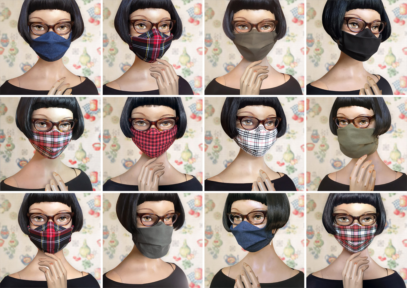 Hybrid mask, Glasses Mask or Beard Mask pattern for glasses wearers and beard wearers by Iris Luckhaus
