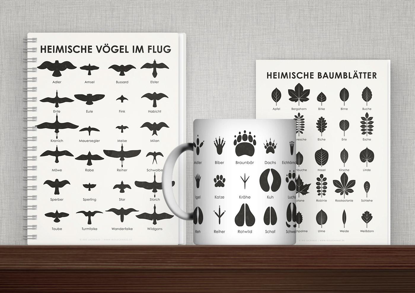 Bedruckte Produkte mit Schautafeln und Infografiken zur Naturkunde von Iris Luckhaus