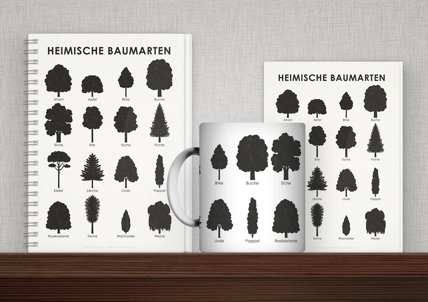 Bedruckte Produkte wie Tasse, Buch, Karte oder Tasche mit Infografiken und Schautafeln von Iris Luckhaus