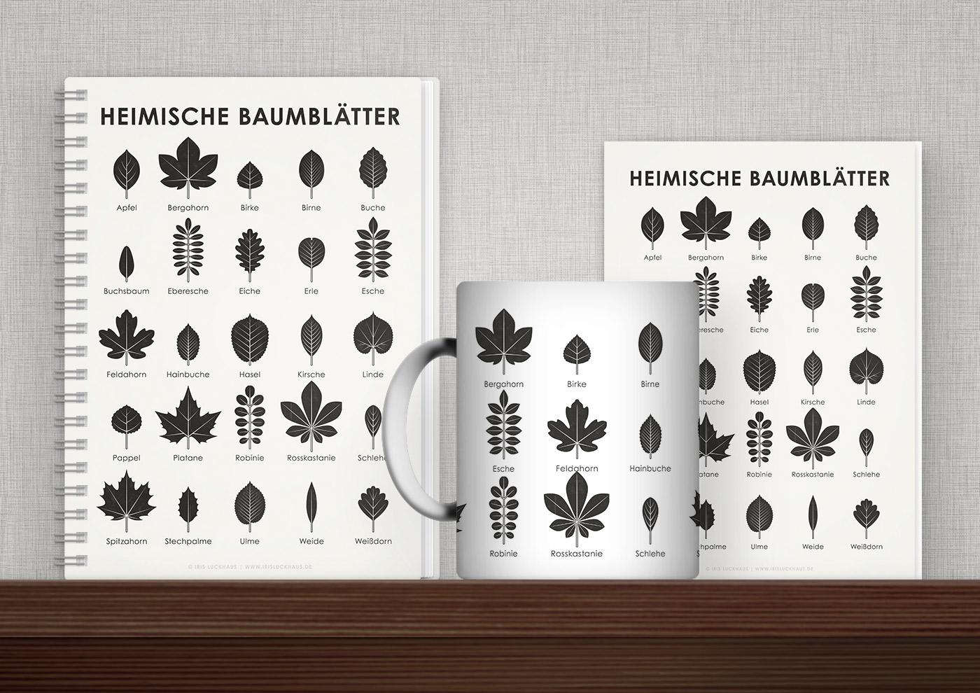 Bedruckte Produkte wie Tasse, Buch, Karte oder Tasche mit Infografiken und Schautafeln zu den Blättrn heimischer Bäume von Iris Luckhaus