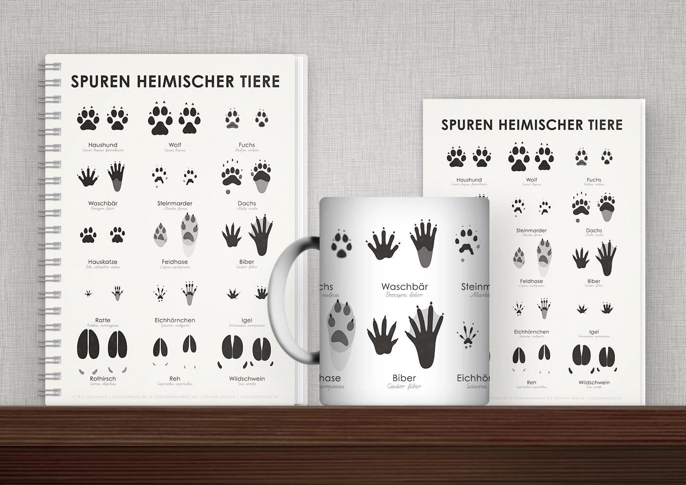 Bedruckte Produkte wie Tasse, Buch, Karte oder Tasche mit Infografiken und Schautafeln zu den Trittsiegeln heimischer Tiere von Iris Luckhaus
