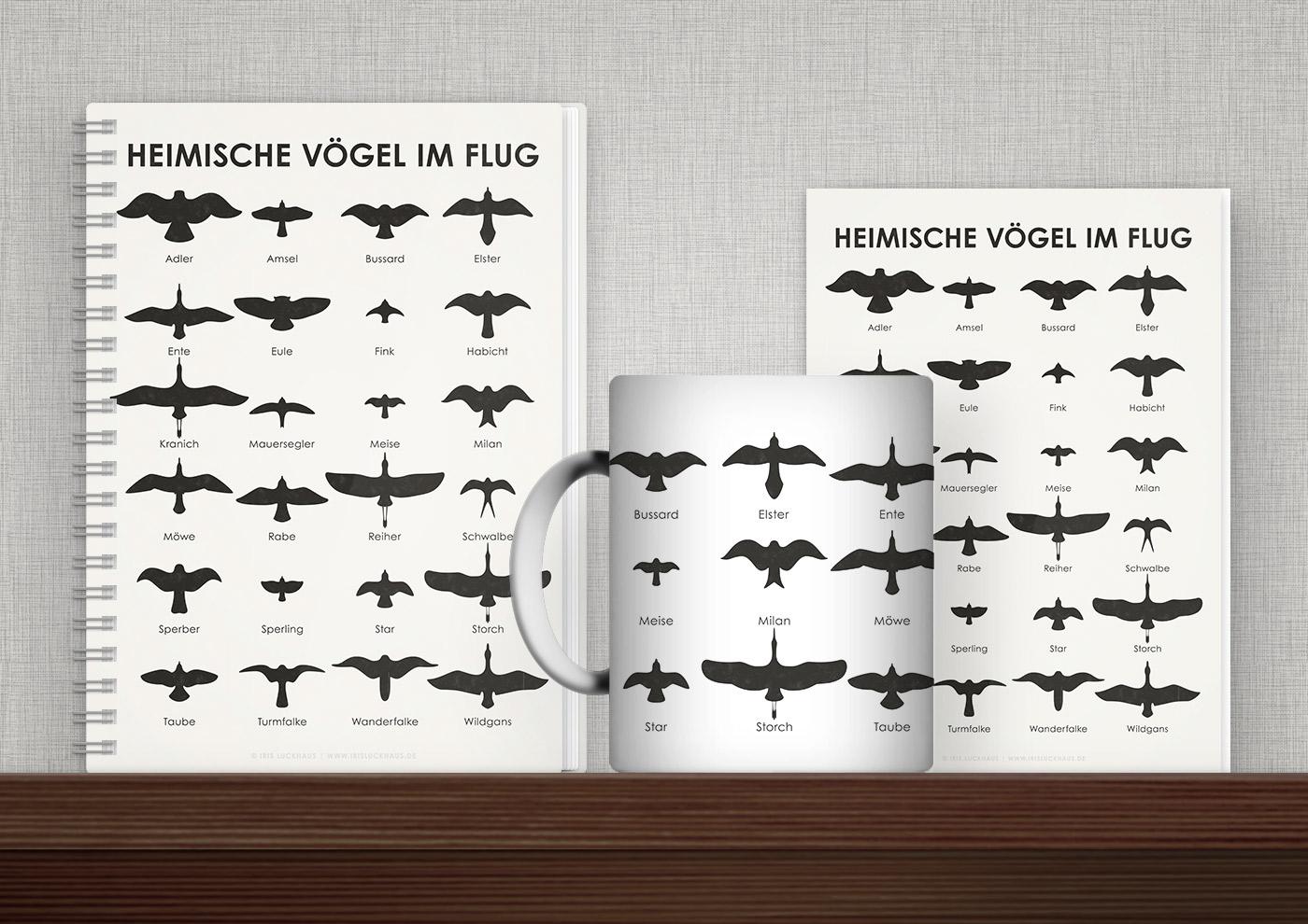 Bedruckte Produkte wie Tasse, Buch, Karte oder Tasche mit Infografiken und Schautafeln zu Heimischen Vögeln im Fluge von Iris Luckhaus